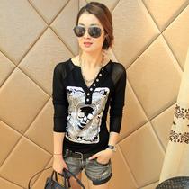 2013秋装新款女装 韩版时尚显瘦V领纽扣拼接打底衫 长袖t恤 女潮 价格:79.00