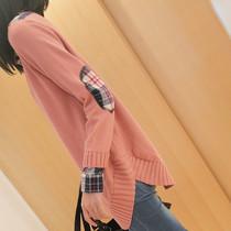 2013秋装新款韩版宽松衬衫领中长款针织衫女装毛衣外套女假二件套 价格:69.00