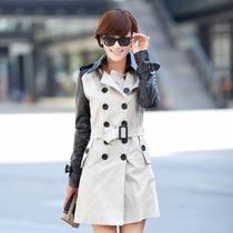 2013新款女装外套长款修身双排扣风衣女拼接韩版长袖秋季翻领黑色 价格:129.00