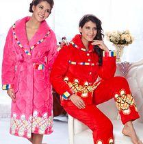 多拉美 专柜正品 2012冬款特价珊瑚绒加厚夹棉睡衣套装女CN42483 价格:418.00