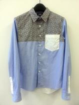 免IT香港代购IZZUE(5CM)碎花布蓝条纹白色拼接修身男衬衫春夏专柜 价格:258.00