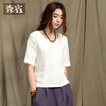 森宿 迷墙~女t恤短袖女装夏装2013新款下摆开叉圆领T恤 价格:95.20