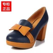 2013新款百思图女鞋圆头蝴蝶结防水台粗跟高跟鞋正品 女单鞋TRU24 价格:138.00