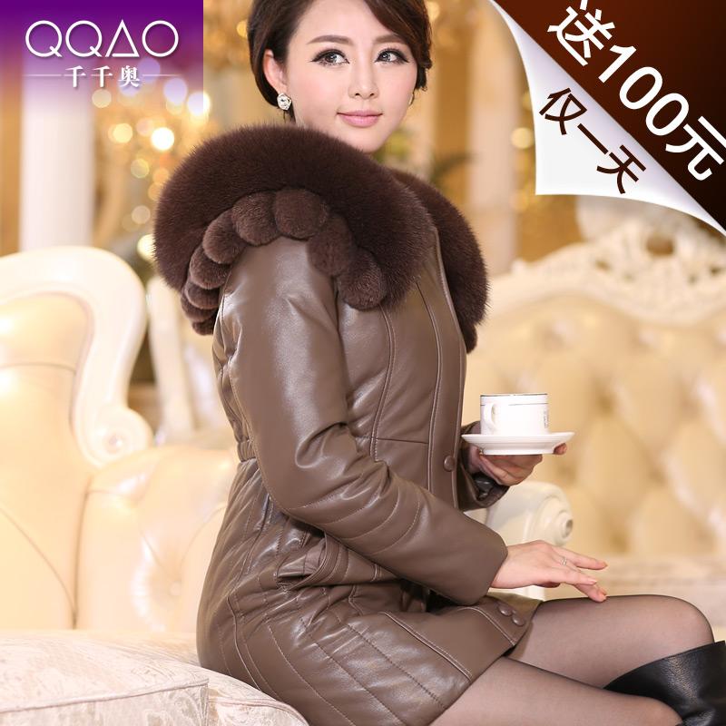 千千奥 高端真皮羽绒服 中长款女士狐狸毛领 獭兔毛真皮皮衣 F026 价格:1586.00