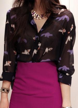 2013春季新款韩版潮流宽松印花立领雪纺衫单排扣薄款雪纺长袖衬衫 价格:88.00