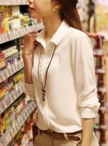 热销2013韩国新款翻领雪纺衫职业白领OL通勤长袖衬衫女式上衣秋夏 价格:55.00