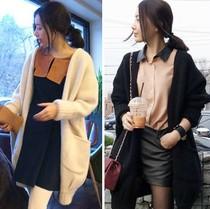 现货韩国代购进口女装正品2013秋装新款时尚蝙蝠宽松针织衫开衫女 价格:156.00