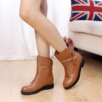 包邮 2013秋季新款真皮圆头中跟女靴 欧美马丁靴 套筒短靴女单靴 价格:158.00
