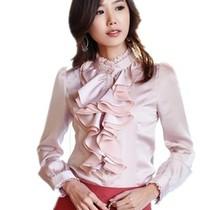 包邮秋装2013新款韩版修身大码荷叶边OL衬衣通勤女式长袖雪纺衬衫 价格:59.00