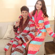 冬季珊瑚绒法兰绒情侣睡袍 男女长袖加厚睡袍睡衣家居服特价包邮 价格:108.00