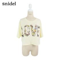 snidel 2013夏 个性花色案底LOVE LOGO短版宽松T恤 夏季6折 价格:490.00