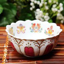 供斋碗 八供碗 山花玉瓷系列之彩绘陶瓷莲花供水杯 八吉祥供碗 价格:25.00
