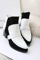 特价2013新款欧美品牌fashion女靴真皮拼色短靴尖头铆钉靴骑士靴 价格:304.00