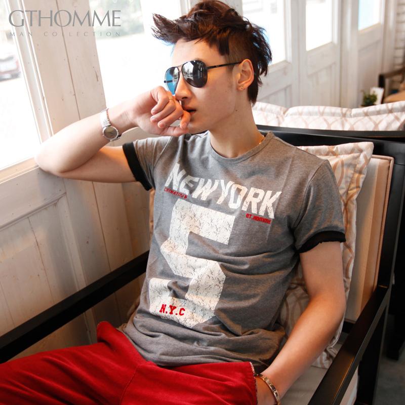 2件68gthomme 男T恤 男士短袖t恤 男装夏韩版潮 T恤男短袖 t男恤 价格:48.80