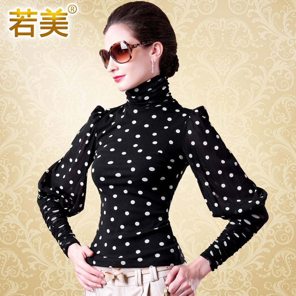 若美2013秋装新款 韩版修身女装 高领泡泡袖打底衫 长袖网纱女T恤 价格:121.10