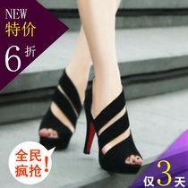 2013秋季新款鱼嘴低帮女士单鞋韩国流行鱼嘴防水台细跟超高跟鞋子 价格:39.00