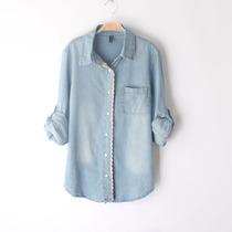 2013春秋装新款 韩版女装修身水洗磨白蕾丝花边牛仔衬衫大码衬衣 价格:55.00