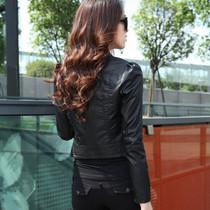 2013新款正品短装欧美小外套圆领酷潮女机车品牌修身气质PU皮衣女 价格:139.36