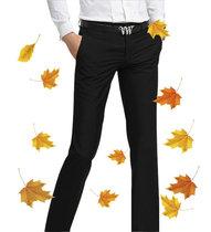 秋款裤子韩版男士西裤商务免烫修身西装裤男式正装裤黑色秋冬厚款 价格:68.00