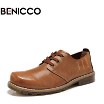BENICCO 新款方头牛皮鞋男鞋 男士亮皮高档大头鞋真皮头层牛皮鞋 价格:218.00