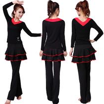 健与舞广场舞服装新款舞蹈服装广场舞套装 拉丁舞上衣长袖平裙裤 价格:24.00