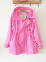 韩国进口韩版秋装女装糖果纯色抽绳宽松休闲连帽加厚风衣外套 价格:149.00
