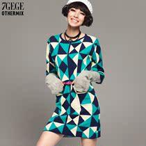 七格格OTHERMIX秋装新款加厚毛衣裙宽松中长款菱形格连衣裙女 价格:215.40