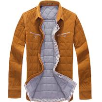 经纬鸟 秋冬季新款灯芯绒时尚休闲男保暖衬衫 夹棉加绒加厚衬衣 价格:138.00