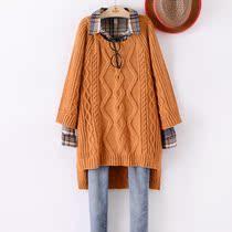 复古风棒针麻花编织中袖套头毛衣宽松休闲中长款毛衣外套女装秋 价格:95.00