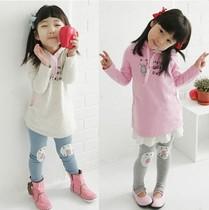 2013新款春装女童套装 卡通猫咪童套装 淑女装小童中童纯棉两件套 价格:35.00