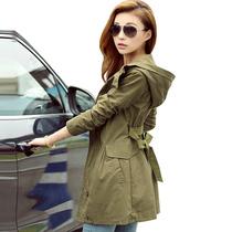 零五七一世家2013新款秋装韩版女装春秋外套军绿色中长款修身风衣 价格:196.00