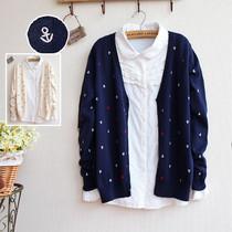 和风日系 新款秋冬女装 精致船锚刺绣针织开衫毛衣 2013 价格:72.00
