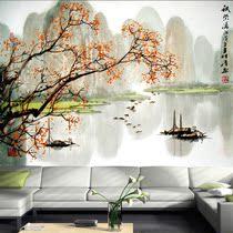 大型壁画 国画山水壁纸 沙发背景电视墙 卧室墙纸 桂林山水 漓江 价格:55.70