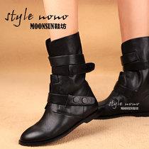 亚历山大王新款 小牛皮圆头皮带扣 平跟骑士靴 中筒靴女靴子 价格:388.00