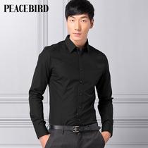 太平鸟男装2013秋季新品 男士黑色修身衬衫韩版潮81112605056 价格:219.00