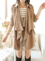 2013女秋装新款 韩版甜美宽松大翻领蕾丝中长款长袖大码风衣外套 价格:139.50