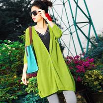 夏季新款简约宽松洋气中长防晒衫 V领百搭中袖亚麻针织开衫W3525 价格:99.00