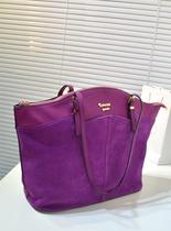2013欧美大牌时尚潮流休闲紫色真皮磨砂复古女包手提包单肩包大包 价格:138.00