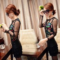 欧洲站新款秋装蕾丝打底衫韩国复古花色修身打底衫女长袖秋蕾丝 价格:58.00
