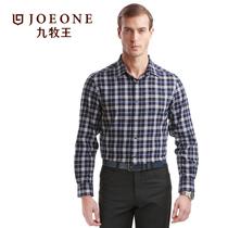 秋装九牧王官方男士商务休闲时尚舒适长袖衬衫格子衬衣JC334131T 价格:299.00