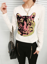 女装秋装2013新款t恤 韩版修身长袖印花打底衫 宽松圆领虎头t恤 价格:63.00