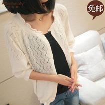 2013秋装新款韩版修身女装毛衣七分袖外套镂空纯色宽松针织衫开衫 价格:33.00