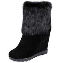 包邮2013冬季新款真皮女靴子坡跟厚底兔毛雪地靴马丁靴中筒靴短靴 价格:228.00
