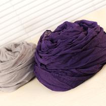 韩版春夏季棉麻褶皱围巾 女士长款糖果色防晒小披肩 围巾纱巾批发 价格:3.90