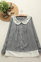 【小希家】黑白格。森林系日系千鸟格清新娃娃领长袖棉衬衫衬衣 价格:58.00
