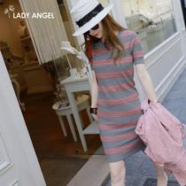 预售LadyAngel女装2013秋冬新款短袖条纹提花 针织连衣裙61130087 价格:219.00