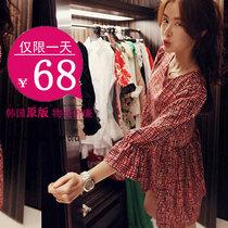 韩国代购2013秋装新款格子七分袖收腰打底连衣裙大码喇叭袖娃娃衫 价格:68.00