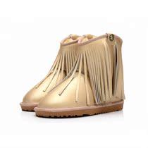 新品雪地靴真皮流苏中筒靴 冬季防水防滑牛筋底女靴子短靴流苏靴 价格:146.00