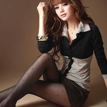 2013秋装韩版新款女装大码修身显瘦打底衫 拼接翻领长袖T恤上衣潮 价格:32.00