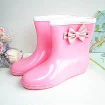 2013精品新款韩版vivi可爱蝴蝶结时尚雨鞋 坡跟舒适女雨靴水鞋 价格:49.00